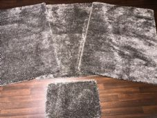 ROMANY WASHABLES 120x160CM XXLARGE SIZE SPARKLY SETS OF 4  MATS GEL BACK SILVER